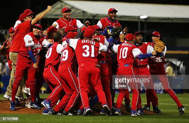 Cuba celebrates a win over Puerto Rico 43 advancing to the finals in the second round of the World Baseball Classic at Hiram Bithorn Stadium on March...