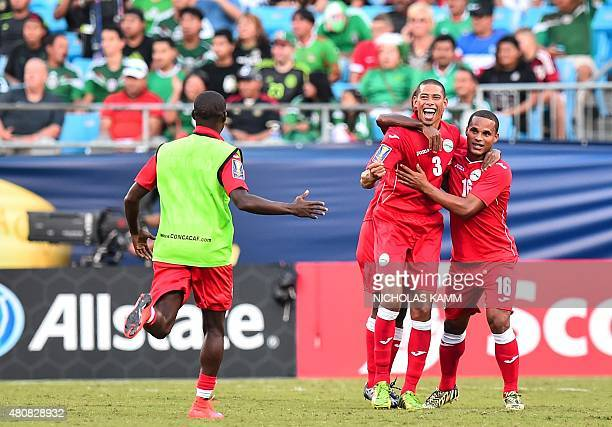 Cuba celebrates its 10 victory over Guatemala in a CONCACAF Gold Cup Group C match in Charlotte North Carolina on July 15 2015 AFP PHOTO/NICHOLAS KAMM