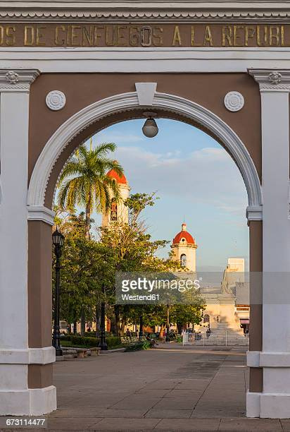 Cuba, Cienfuegos, Parque Jose Marti, archway, Catedral de Nuestra Senora de la Purisima Concepcion