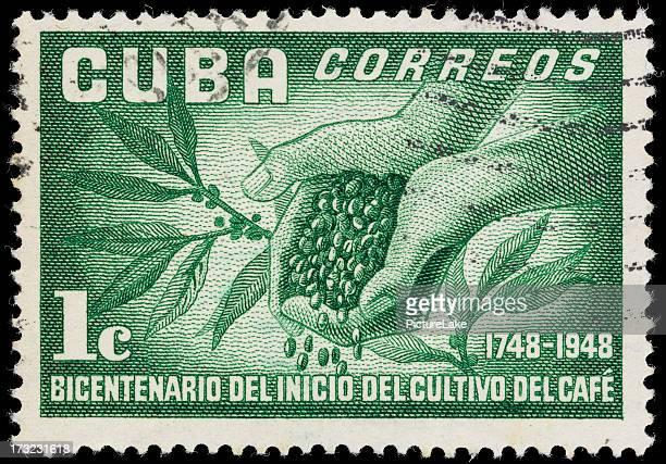 Kuba-Kaffee und Bohnen Briefmarke