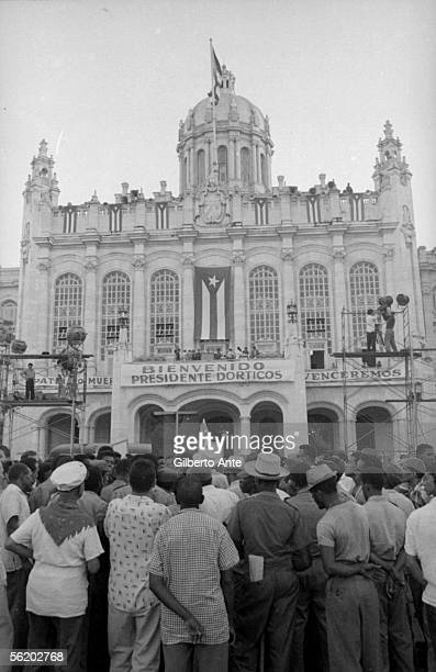 Cuba First demonstration in support of the Revolution in Havana in front of the old Presidential palace 19591960