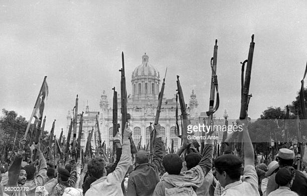 Cuba First demonstration in support of the Revolution in Havana in front of the old Presidential palace 1959
