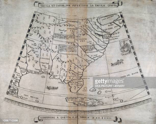 Cuba Florida and the East Coast of North America engraving from Descrittione et sito de tutta la Terra sin qui conosciuta by Urbano Monte 16th century