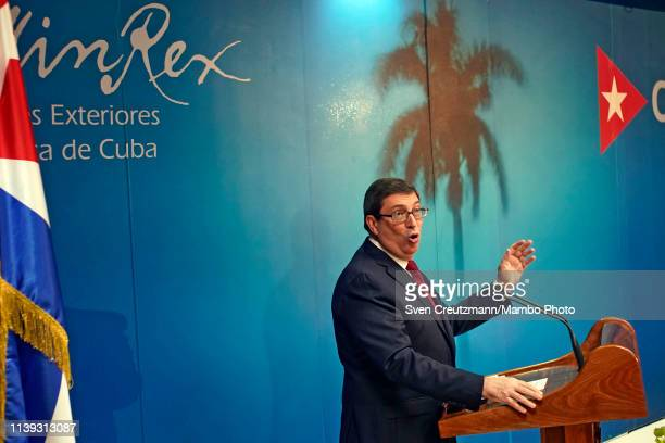 Cuba Foreign Minister Bruno Rodriguez gives a press conference about the tightening of the U.S. Embargo against Cuba, at the Foreign Ministry on...