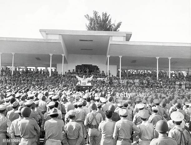 3/13/1952 Cuba Fulgencio Batista Cuba's strong man addresses the Cuban Army for the first time after taking over the Government early this week On...
