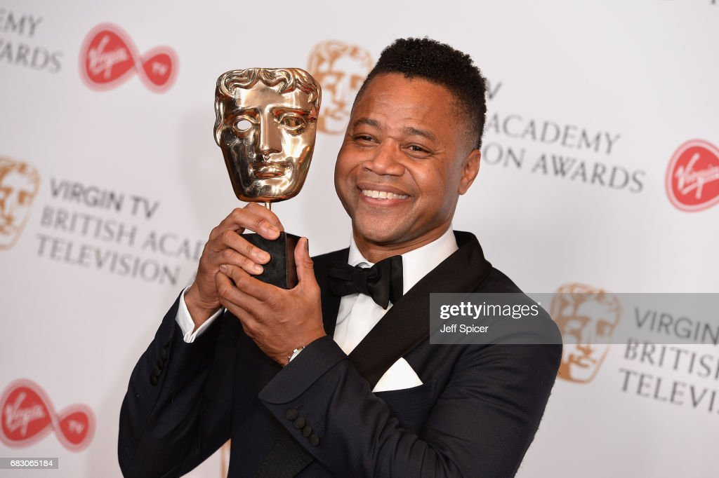 Cuba Gooding Jr, accepting the International award for 'The People Vs. OJ Simpson', poses in the Winner's room at the Virgin TV BAFTA Television Awards at The Royal Festival Hall on May 14, 2017 in London, England.