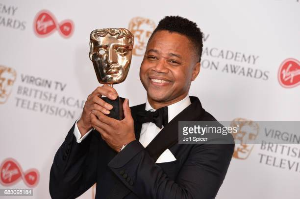 Cuba Gooding Jr accepting the International award for 'The People Vs OJ Simpson' poses in the Winner's room at the Virgin TV BAFTA Television Awards...