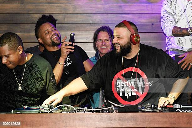Cuba Gooding Jr and DJ Khaled attend the Marquee Takeover at Verso Big Game Weekend presented by Hennessy VS Day 4 on February 7 2016 in San...