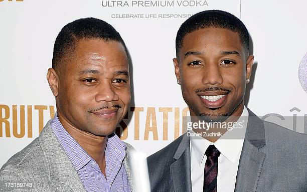 Cuba Gooding Jr and Michael B Jordan attend a screening of 'Fruitvale Station' at The Museum of Modern Art on July 8 2013 in New York City
