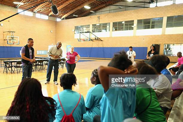 Cuba Gooding Jr and President/CEO of Boys Girls Clubs of Metro Los Angeles Calvin Lyons talks to Boys Girls Clubs members of Watts Willowbrook site...