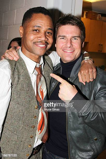 Cuba Gooding Jr and Tom Cruise pose backstage at the play 'The Trip to Bountiful' on Broadway at The Stephen Sondheim Theater on April 16 2013 in New...