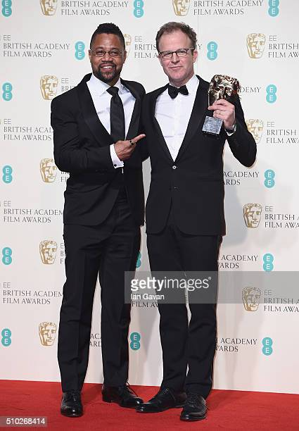 Cuba Gooding Jr and Tom McCarthy winner of Best Original Screenplay for 'Spotlight' poses in the winners room at the EE British Academy Film Awards...