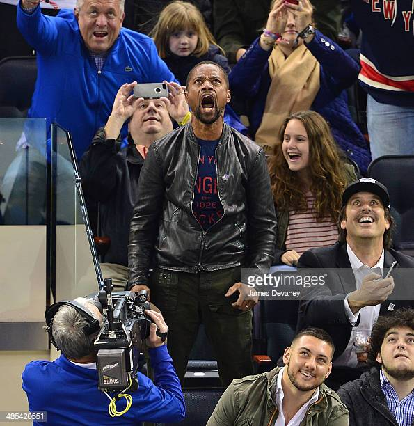Cuba Gooding Jr attends the Philadelphia Flyers vs New York Rangers playoff game at Madison Square Garden on April 17 2014 in New York City