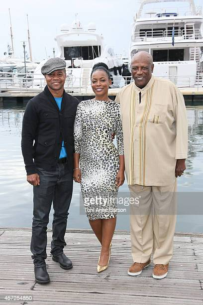 Cuba Gooding Jr., Aunjanue Ellis and Lou Gossett Jr. Pose during 'The Book Of Negroes' photocall at Mipcom 2014 on October 13, 2014 in Cannes, France.