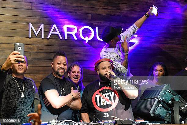Cuba Gooding Jr DJ Khaled Lewis Hamilton and Chanel Iman attend the Marquee Takeover at Verso Big Game Weekend presented by Hennessy VS Day 4 on...