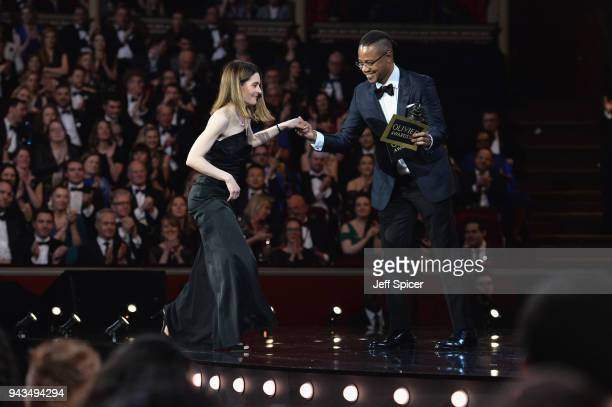 Cuba Gooding Jr presents Shirley Henderson with the award for Best Actress In A Musical for 'Girl From The North Country' on stage during The Olivier...