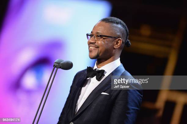 Cuba Gooding Jr. Presents the award for Best Actress In A Musical on stage during The Olivier Awards with Mastercard at Royal Albert Hall on April 8,...