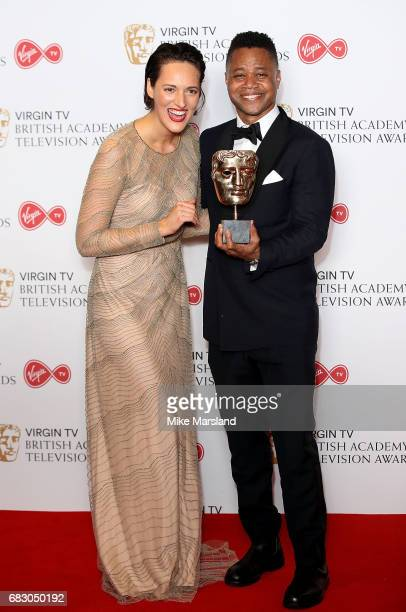 Cuba Gooding Jr with Phoebe WallerBridge winner of the Best Female Performance in a Comedy Programme for 'Fleabag' poses in the Winner's room at the...