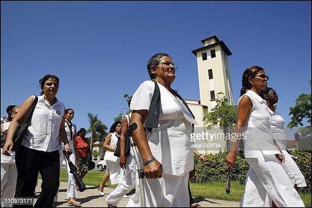 Cuba Opposition Ladies in White in Havana Cuba on December 14th 2005 Cuban wives of political prisoners demonstrate on September 19th 2004 in front...