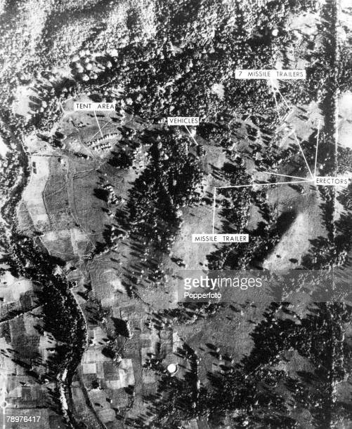1962 Cuba The Cuban Missile Crisis A satellite reconnaissance photograph shows a mediumrange ballistic missile site in Cuba assembled with Russian...