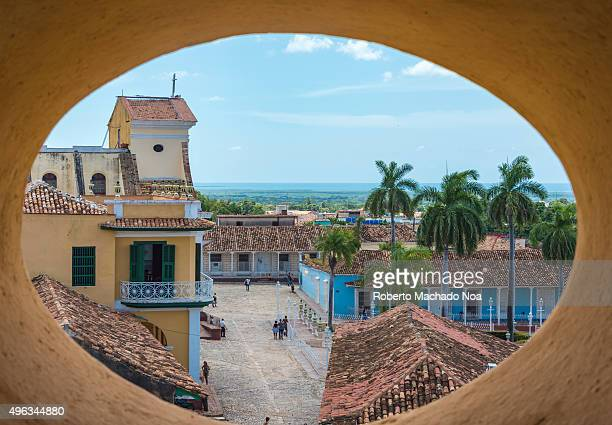 Cuba tourism Trinidad views from the Convent of Saint Assisi tower or Church in Main Plaza which currently houses the Museum of Fight Against Bandits...