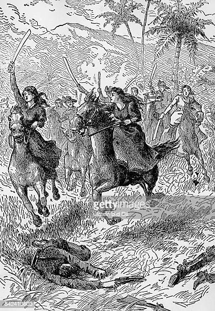 Cuba War of Independence 18681878 War of Independence 'Guerra larga' Women cavalry in the Cuban liberation army contemporary wood engraving around...