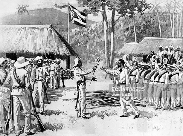 Cuba War of Independence 189598 Cuban General Jose Antonio Maceo returning the sword to captive Spanish Captain Jose Palacio To the surprise of the...
