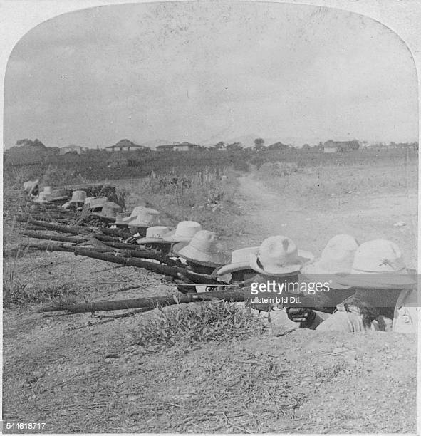 Cuba War of Independence 189598 Cuban soldiers in a dugout near Pinar del Rio awaiting an attack by the Spanish 1898