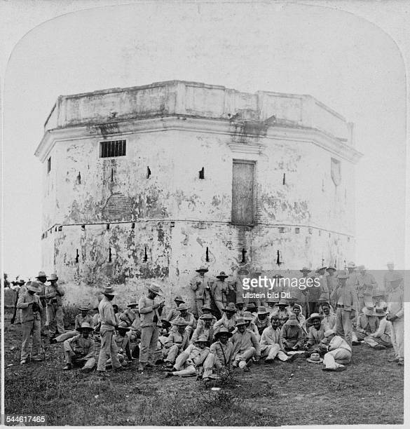 Cuba War of Independence 189598 Group of Spanish or Cuban soldiers at a fortress near Cienfuegos late 1898