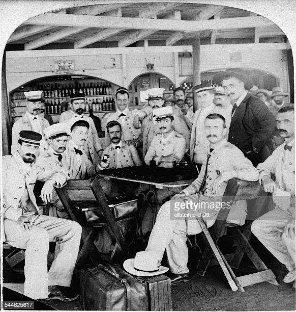 Cuba War of Independence 189598 Spanish officers at a cafe in Cienfuegos late 1898