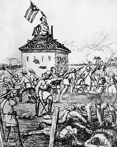 Cuba War of Independence 189598 The fall of Guaimaro Ensign Luis Rodolfo Miranda is waving the Cuban flag on the tower of the Spanish blockhouse| in...
