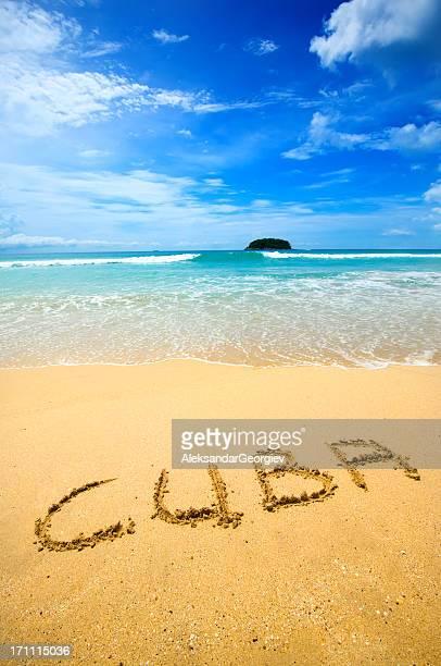 Kuba geschrieben am Sand