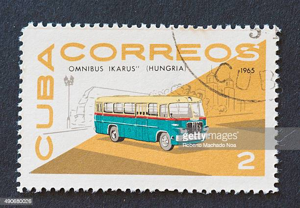 Cuban 1965 stamp from the 'Omnibus' series depicting a bus manufactured by Ikarus Hungary