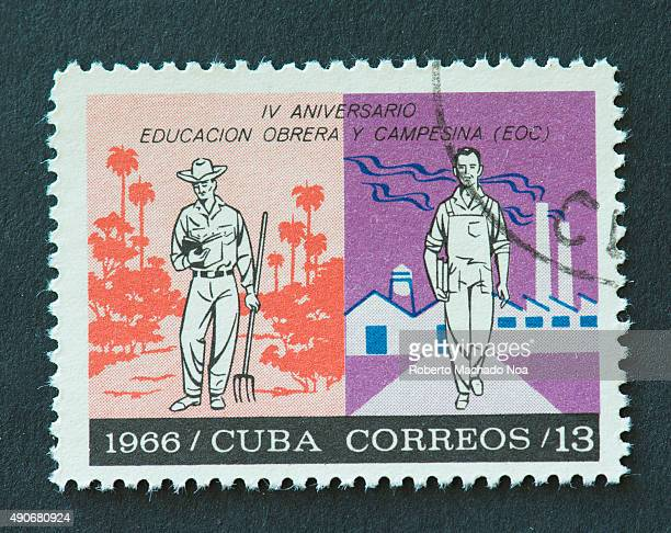 Cuban 1966 stamp commemorating the 4th anniversary of Education to Peasants and Labour The stamp shows a peasant and a labour holding books