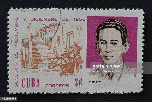 Cuban 1966 stamp depicting the events of November and December 1956 The stamp shows two soldiers shooting at a person and portrait of revolutionary...