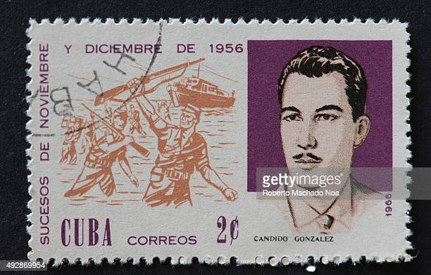 Cuban 1966 stamp depicting the events of November and December 1956 The stamp shows soldiers alighting out of the yatch 'Granma' and portrait of...