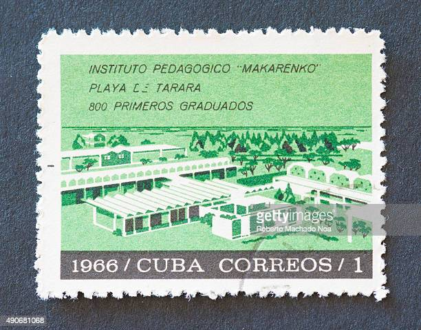 Cuban 1966 stamp depicting the Makarenko Pedagogical Institute Tarara beach