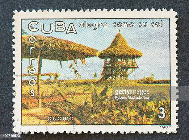Cuban 1966 stamp on 'alegre como su sol' series depicting Guama Guama is a municipality in the 'Santiago de Cuba' Province of Cuba named after Guama...