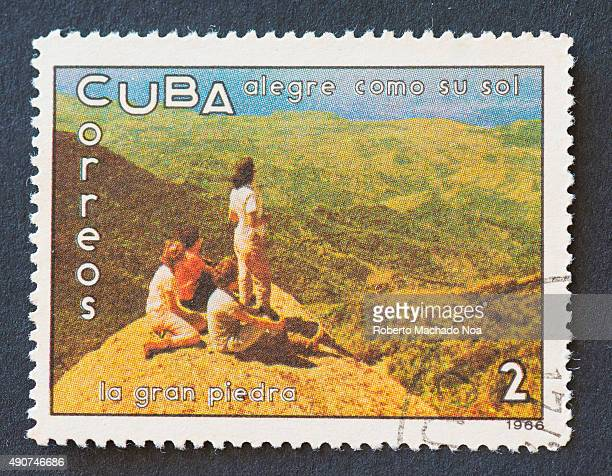 Cuban 1966 stamp on 'alegre como su sol' series depicting people on 'The great rock'