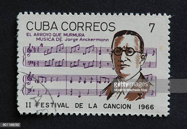 Cuban 1966 stamp on El Arroyo Que Murmura by Jorge Anckermann Stamp commemorating second Festival de la Cancion of 1966 Jorge Anckermann was a Cuban...