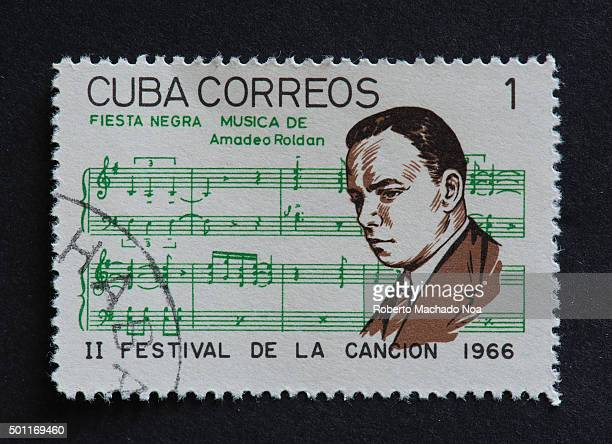 Cuban 1966 stamp on Fiesta Negra by Amadeo Roldan Stamp commemorating second Festival de la Cancion of 1966 Amadeo Roldan was a Cuban composer and...