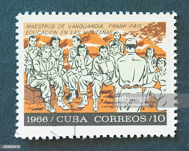 Cuban 1966 stamp on Masters of Vanguard 'Frank Pais' and depicting education in the mountains Frank Pais was a Cuban revolutionary