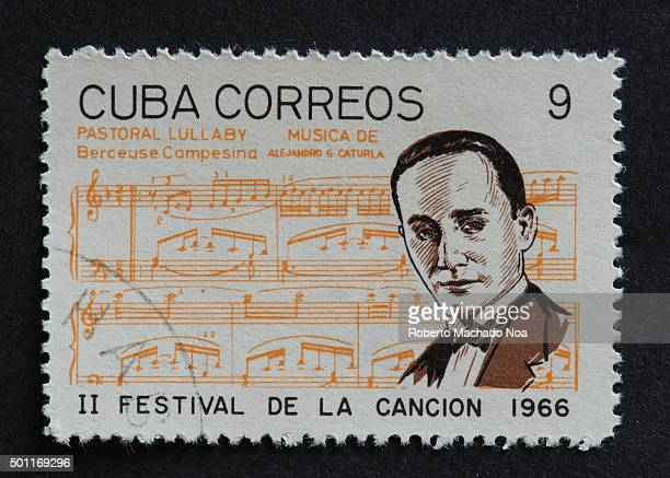 Cuban 1966 stamp on Pastoral Lullaby Bercuese Campesina by Alejandro Caturla Stamp commemorating second Festival de la Cancion of 1966 Alejandro...