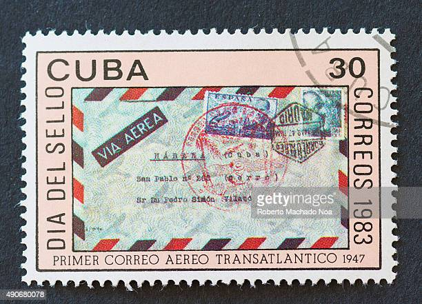 Cuban 1983 stamp commemorating the Stamp Day by showing the first transatlantic airmail in 1947 on the stamp