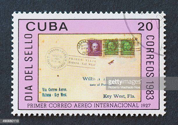 Cuban 1983 stamp commemorating the Stamp Day by showing the first international airmail in 1927 on the stamp