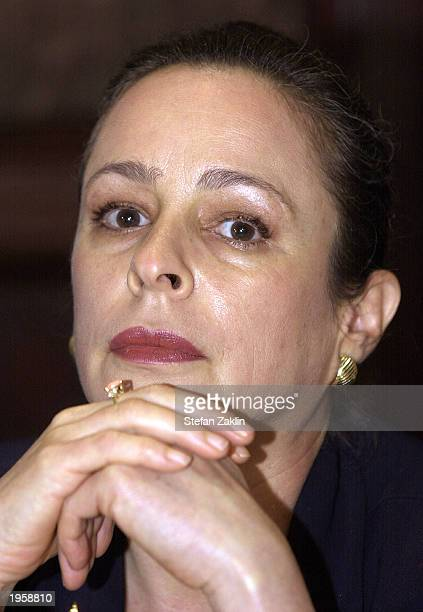 Cuban activist Alina Fernandez the daughter of Fidel Castro attends a news conference at the National Press Club April 29 2003 in Washington DC...