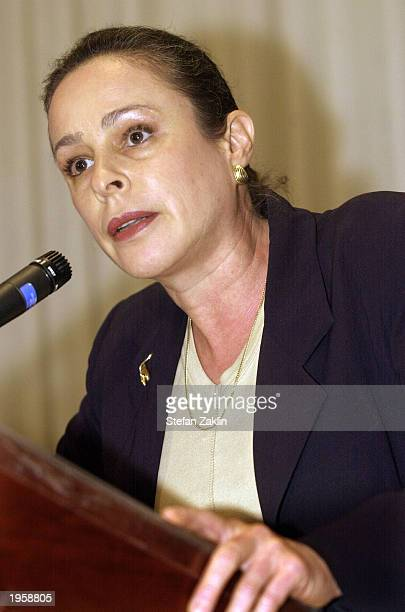Cuban activist Alina Fernandez the daughter of Fidel Castro speaks at a news conference at the National Press Club April 29 2003 in Washington DC...