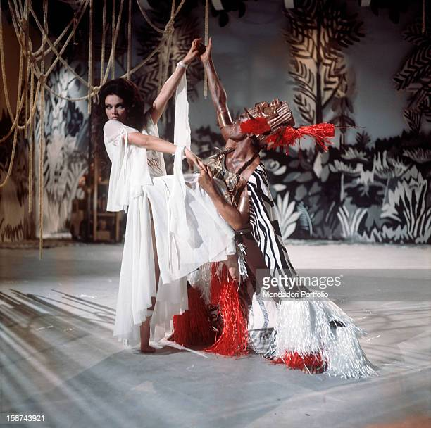 Cuban actress Chelo Alonso born Isabella Garcia also known by the italian public for her qualities as a dancer dances with a male dancer dressing a...