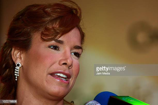 Cuban Actress Liz Vega speaks during a press conference at Casino Royal on June 21 2010 in Mexico City Mexico