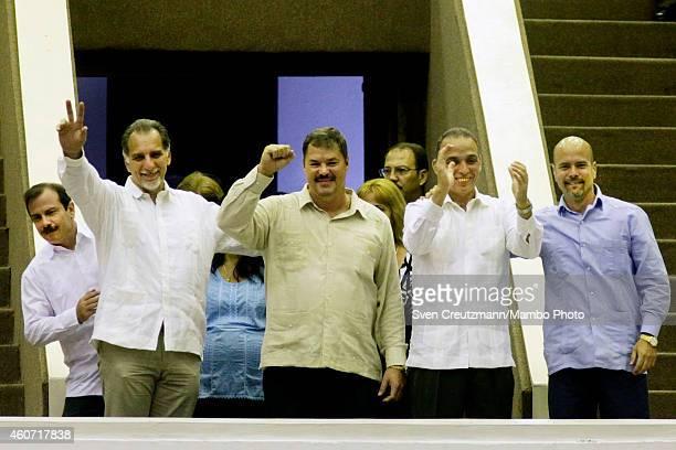 Cuban agents Fernando Gonzalez, Rene Gonzalez, Ramon Labanino, Antonio Guerrero and Gerardo Hernandez, the so-called Cuban Fives, greet the delegates...